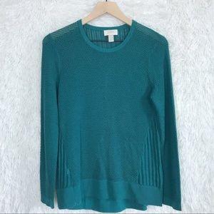 ⚡️ LOFT | Green Waffle Knit Sweater Large Petite